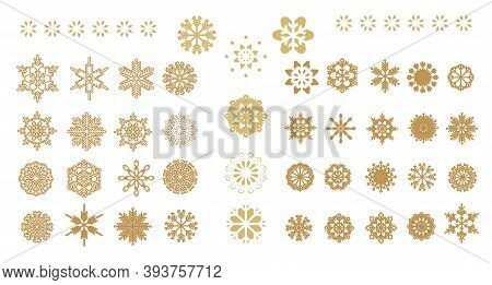 Set Of  Golden Snowflakes. Christmas  Card With Snowflakes And Bokeh.  Beautiful Snowflakes Set For