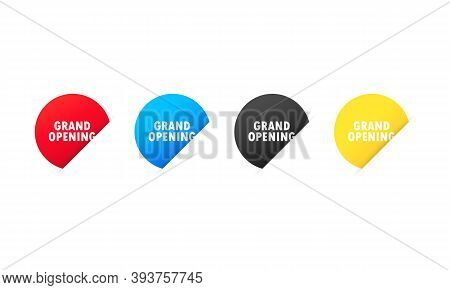 Grand Opening Sticker. Vector On Isolated White Background. Eps 10