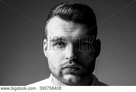 Hairstyle Barber. Man Bearded Macho Close Up Face. Barbershop Concept. Beard Grooming. Hipster Style