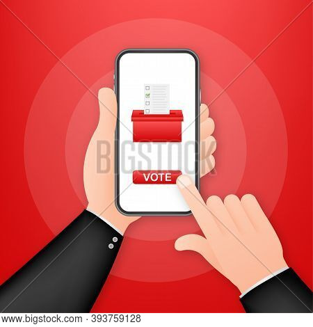 Voting Online, E-voting, Election Internet System. Vector Illustration
