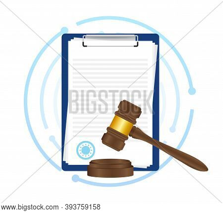 Law Concept Of Legal Regulation Judicial System Business Agreement. Vector Stock Illustration.