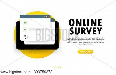 Online Survey Illustration. Check List Online Form On Tablet. Report On Website Or Web Internet Surv