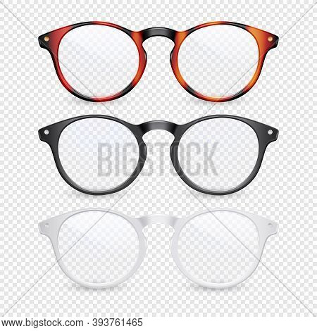 Vector 3d Realistic Plastic Brown Leopard, Black, White Rimmed Eye Glasses Closeup Isolated On Trans