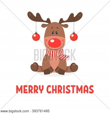 Merry Christmas Postcard. Vector Christmas Cute Reindeer With Christmas Balls On The Horns On White.