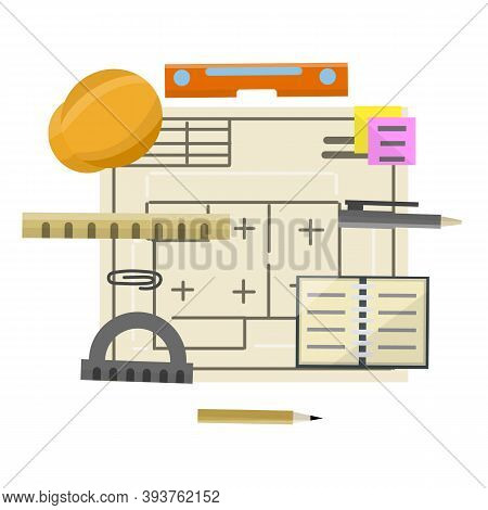 Engineer Kit. Drawing Plan Of Building. Design And Project Documents. Set Of Drawing Items. Construc