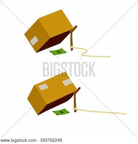 Cardboard Box And Trap. Children Practical Joke.