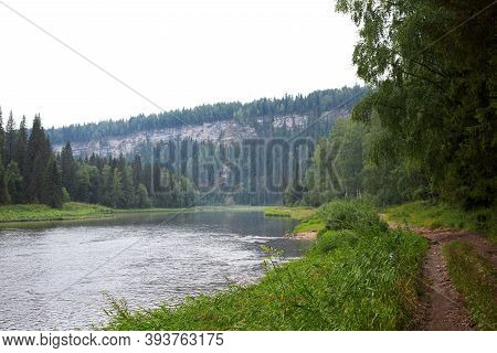 Road To Stone Pillars On River Usva, Perm Region, Russia Bottom View On Natural Background. Text Cop