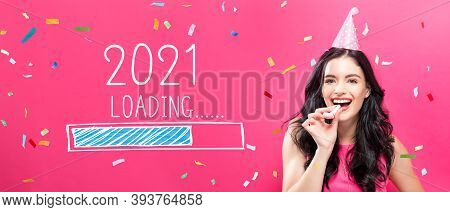 Loading New Year 2021 With Young Woman With Party Theme On A Pink Background
