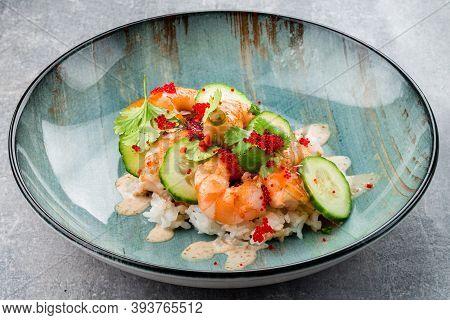 Fresh Seafood Shrimp Poke Bowl With Fresh Prawn, Soy Beans Food Concept Poke Bowl