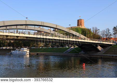 Vilnius, Lithuania - September 22, 2020: Gediminas Tower And King Mindaugas Bridge Across Neris Rive