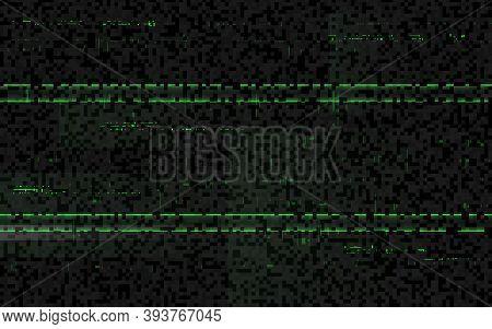 Glitch Matrix Effect. Green Digital Distortion. Horizontal Lines On Black Backdrop. No Signal Textur