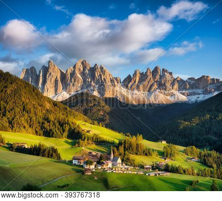 Santa Maddalena, Val Di Funes, Italy. Most Popular Place In Italy. Classical Landscape In Summer Tim