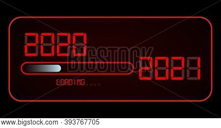 Happy New Year 2020 With Loading To Up 2021. Red Led Neon Digital Time Style. Progress Bar Almost Re