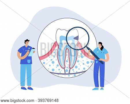 Caries, Pain In Mouth, Toothache Disease. Dental Clinic Logo. Doctor Dentist, Stomatology, Tooth Ana