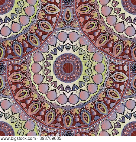 Paisley Seamless Pattern. Ornamental Colorful Mandalas Background. Repeat Backdrop. Decorative Intri