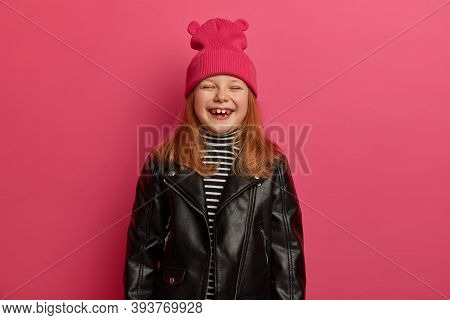 Stylish Ginger Lovely Girl Laughs Sincerely, Closes Eyes, Feels Very Glad, Rejoices Nice Day, Spendi