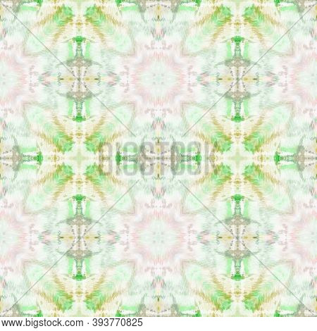 Ethnic Pattern. Abstract Kaleidoscope Design. Pink And Green Seamless Texture. Seamless Tie Dye Orna