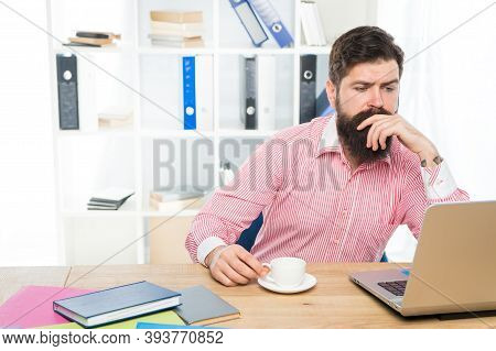 Practical Blog For Practical People. Serious Blogger Use Laptop For Blogging. Blog Post. Information