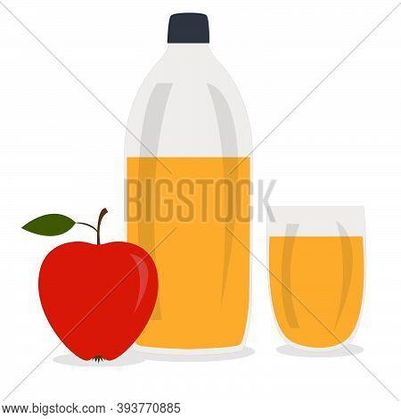 Bottle Of Apple Cider Vinegar, Glass With Drink And Red Apple. Vector Flat Cartoon Illustration.