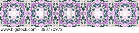Ikat Textile. Pink And Blue Seamless Texture. Abstract Ethnic Motif. Seamless Tie Dye Ornament. Ethn