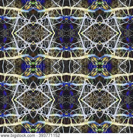 Tibetan Fabric. Luminous Neon Seamless Texture. Repeat Tie Dye Ornament. Ikat Indonesian Design. Abs