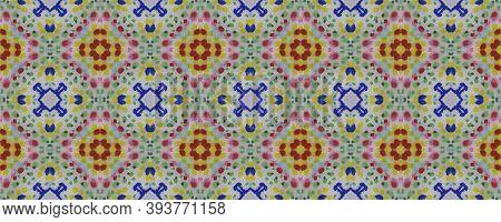 Ethnic Pattern. Seamless Tie Dye Rapport. Ikat Japanese Motif. Abstract Batik Design. Blue, Indigo,