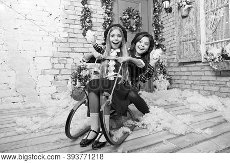 Sleigh Bells Ring. The Morning Before Xmas. Little Girls On Sledge. Happy New Year. Winter. Xmas Onl