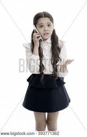 Girl Cute Long Hair Talk Smartphone White Background. Child Desperate Helpless Face Expression Speak