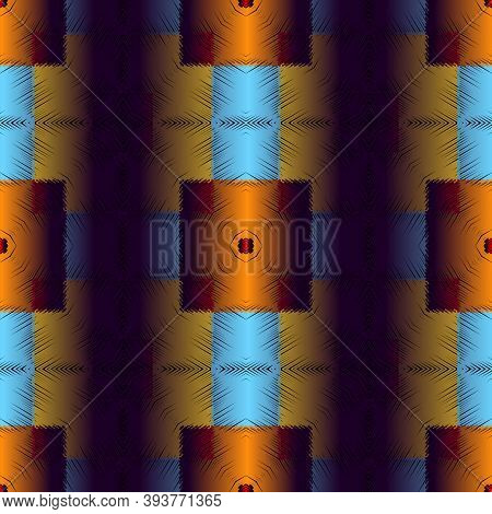 Textured 3d Geometric Vector Seamless Pattern. Abstract Tapestry Squares Background. Modern Repeat S