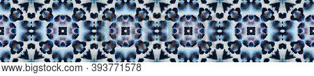 Tie Dye Seamless Pattern.  Tribal Backdrop.  Indigo And Black Textile Print. Colorful Natural Ethnic