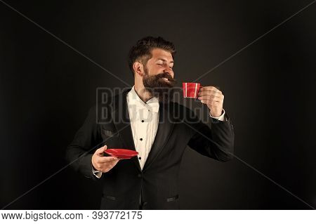 Joy Of Drinking Coffee. Happy Manager Hold Coffee Cup. Bearded Man Enjoy Drinking Coffee. Drinking H