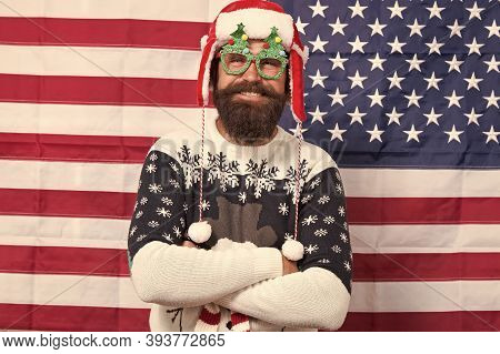 Decor And Accessory. Man Wear Knitted Sweater. American Tradition. Santa Claus On American Flag. Xma