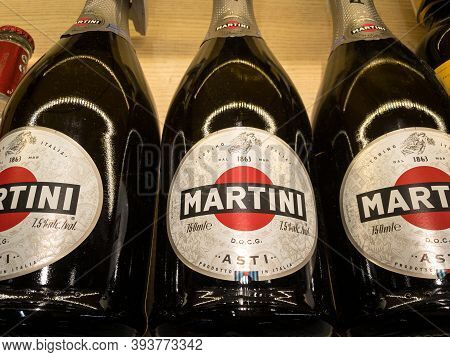 Belgrade, Serbia - October 10, 2020: Asti Sparkling Wine With The Logo Of Martini For Sale. Martini