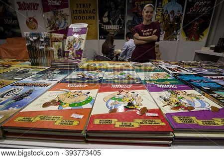 Belgrade, Serbia - October 25, 2019: Covers Of Asterix And Obelix Comic Strips, For Sale On A Retro
