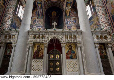 Topola, Serbia - May 27, 2017: Interior Of The Oplenac Royal Mausoleum, The Orthodox Church Hosting