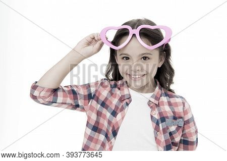 Child Charming Smile Fall In Love. Girl Heart Shaped Eyeglasses Celebrates Valentines Day. Girl Cute