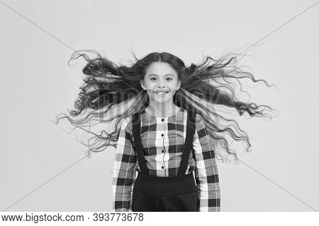 Extra Light. Air In Her Hair. Natural Beauty. Girl Kid Long Hair Flying In Air. Child With Natural B