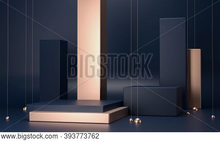 3d Rendering Podium Geometry With Gold Elements. Abstract Geometric Shape Blank Podium. Scene For Pr