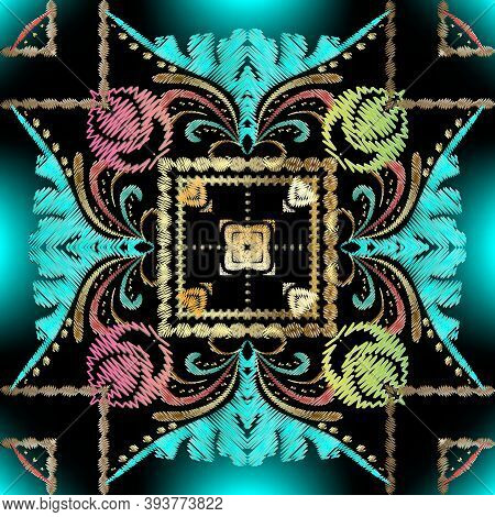 Colorful Embroidery Ethnic Seamless Pattern. Vector Geometric Textured Background. Tapestry Floral O