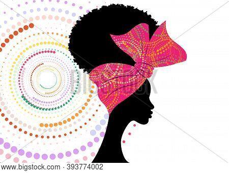 Portrait African Woman Wears Fashion Bandana For Curly Hairstyles. Shenbolen Ankara Headwrap Women.
