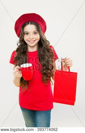 Shopping And Purchase. Black Friday. Shopping Day. Child Hold Package. Girl With Shopping Bag. Save