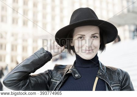 Skincare, Youth, Visage. Woman In Black Hat Smile On Stairs In Paris, France, Fashion. Beauty, Look,