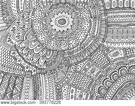 Floral Ornament With Flowers And Leaves. Doodle Shamanic Coloring Page For Adults. Abstract Trippy P