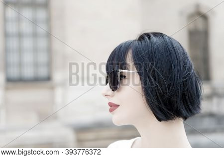 Girl Fashionable Lady With Bob Hairstyle Outdoor Urban Architecture Background. Woman Fashionable Mo