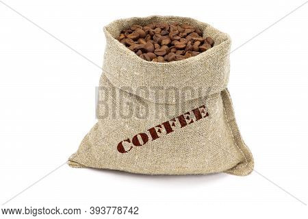 A Sack Of Coffee Isolated On A White Background. Coffee Beans In Burlap Saks. Coffee Beans In Jute B