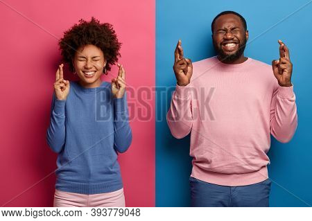 Happy Black Students Cross Fingers Wait For Examination Results, Pray To Get Best Grade, Smile Broad