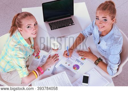 Portrait Of Two Business Woman Working In Office With Computer