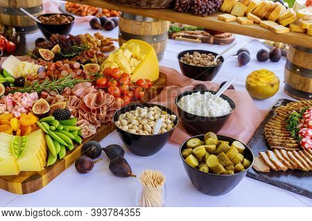 Party Table. Variety Or Assortment Of Cheese, Fruits And Deli. Party Table.