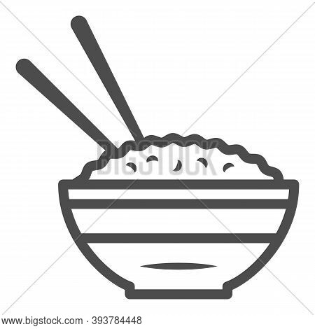 Rice Bowl And Chopsticks Line Icon, Chinese Or Japanese Cuisine Concept, Plate Of Food Sign On White