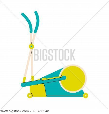 Cyclette Or Cycle Trainer Machine Simple Icon, Flat Cartoon Vector Illustration Isolated On White Ba